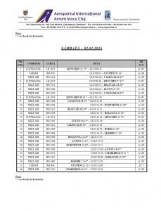 Program zboruri - Sarbatori Iarna 31.12.2015 - 03.01.2016 sambata