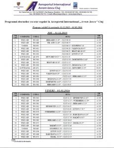 Program zboruri - Sarbatori Iarna joi-vineri
